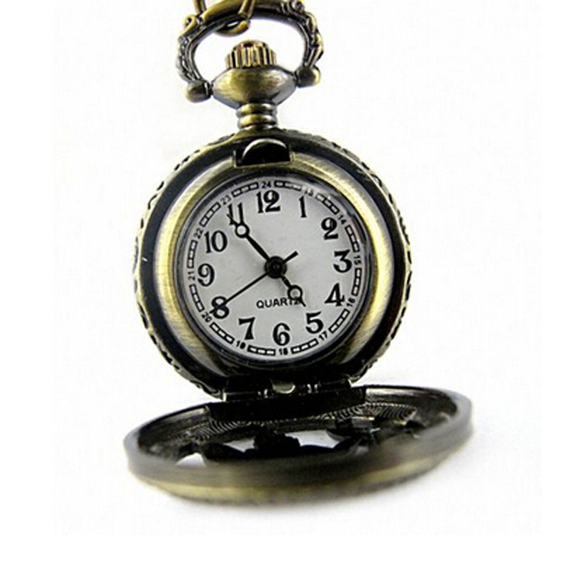 pocket watches with chain necklace pocket watches Retro Bronze Butterfly and Flower Openwork Cover Pocket Quartz Watch D25 antique nightmare before christmas quartz pocket watch necklace chain pendent retro vintage mens bronze vintage pocket watches