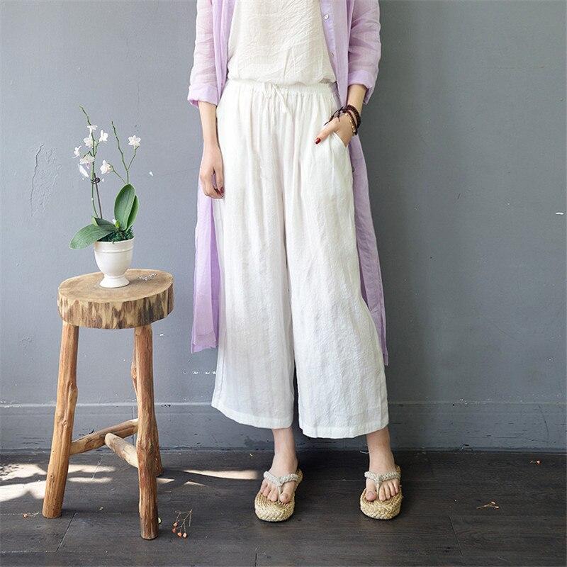 SCUWLINEN 2019 Women   Pants   Vintage Casual Elastic Waist Striped Loose Linen Tencel Straight   Wide     Leg     Pant   Pantalon Femme S905