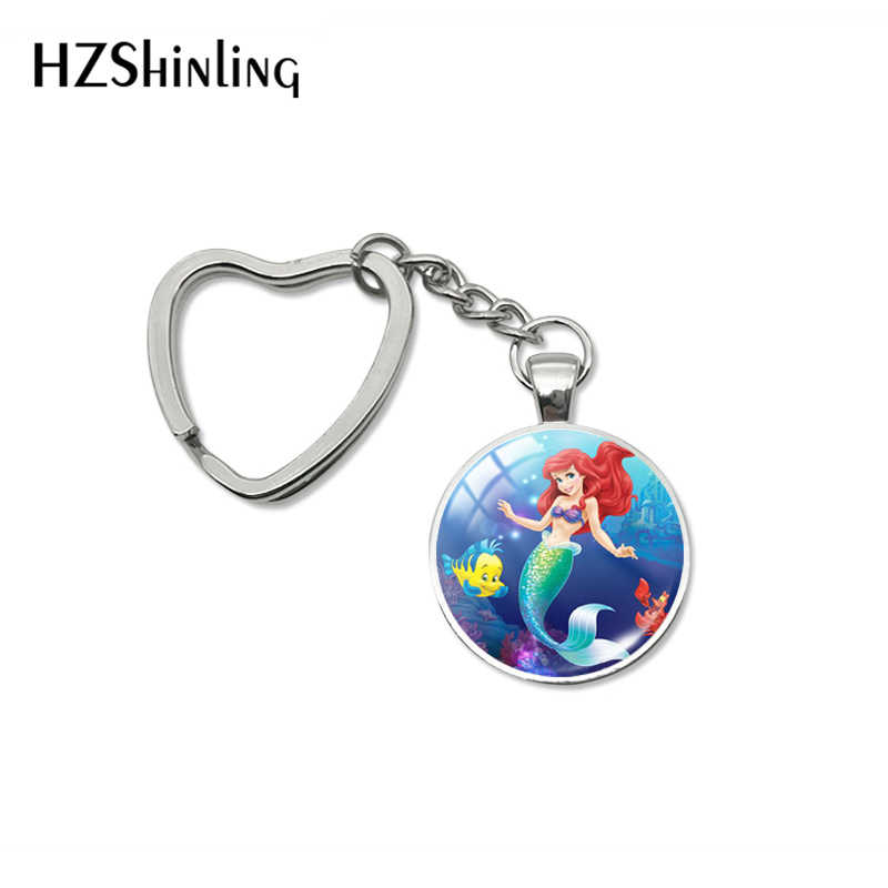 2019 Nuovo Arrivo Beautiful Mermaid Ariel Principessa Del Cuore Dei Monili Del Keychain The Little Mermaid Cabochon in Vetro Portachiavi Amici Regalo
