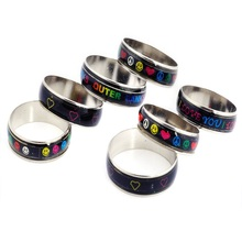 Wholesale 10Pcs/Set Exotic Change Color Mood Rings For Women Cute Girl Children Temperature Ring Party Jewelry Accessories