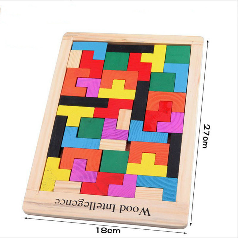 Kids Leker Colorful Wooden Tangram Brain Teaser Puzzle Leker Tetris - Puslespill - Bilde 5