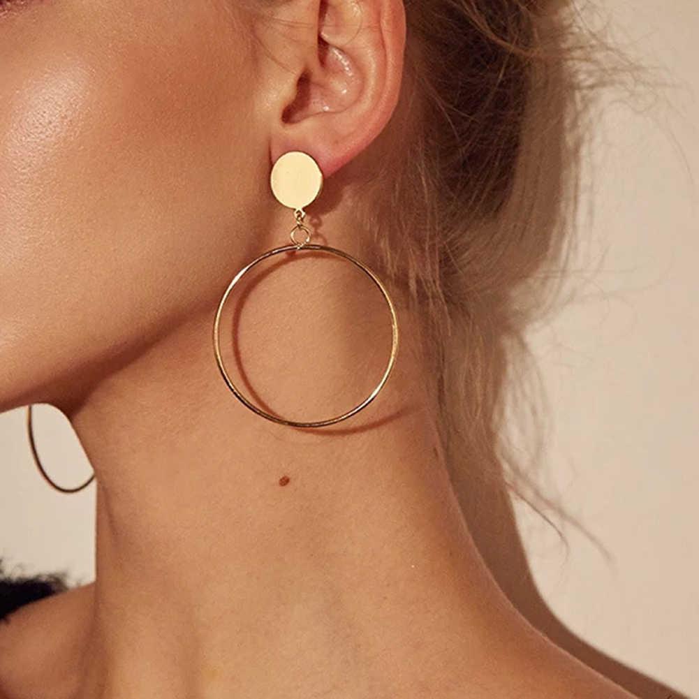 Simple Circular GOLD Drop ต่างหู 2019 ใหม่แฟชั่นโลหะรอบต่างหูสำหรับ Women PARTY เครื่องประดับของขวัญ