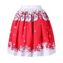 adb31e190c Las mujeres Sexy Navidad Santa impreso Swing rendimiento una línea falda  feb22(China)