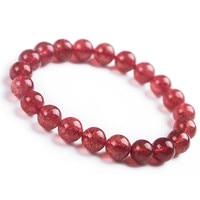 Wholesale 100% Genuine Bracelet Natural Strawberry Quartz Crystal Gemstone Stretch Bracelet Size 8mm Round Bead For Women AAAAA