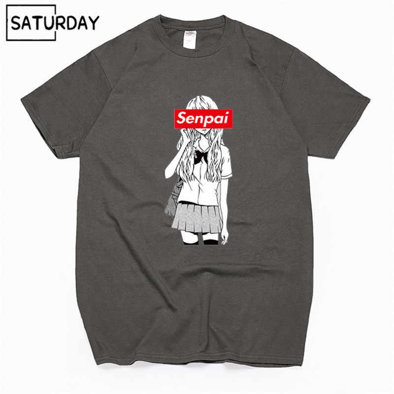 Camiseta Senpai Chica de anime de algodón con estampado negro para hombre, camiseta de Manga corta para mujer, Camiseta de algodón, ropa Harajuku Unisex