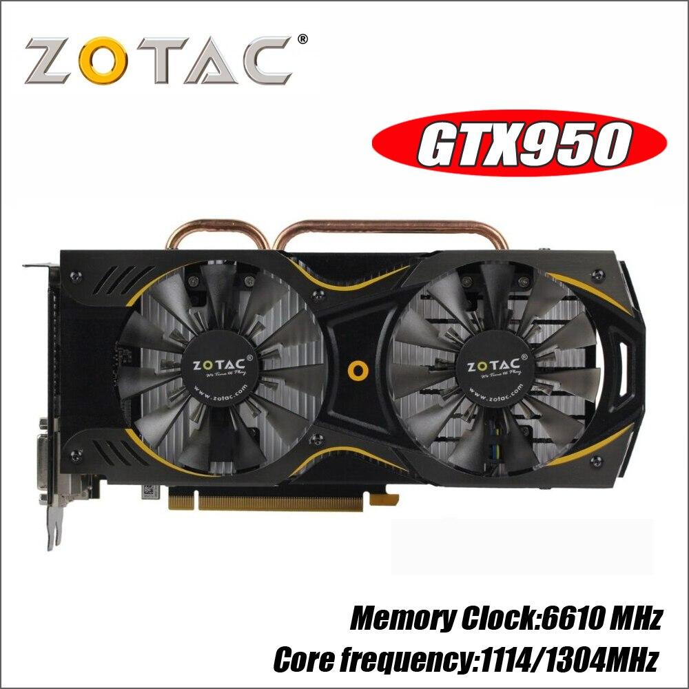 ZOTAC видеокарта GeForce GTX 950 2 ГБ 128Bit GDDR5 Графика карты для nVIDIA GM206 оригинальный GTX950 750 750ti 1050ti 1050 ti 2GD5