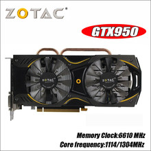 Placa de vídeo zotac geforce gtx 950 2 gb 128bit gddr5 placas gráficas para nvidia gm206 original gtx950 750 750ti 1050ti 1050 ti 2gd5(China)