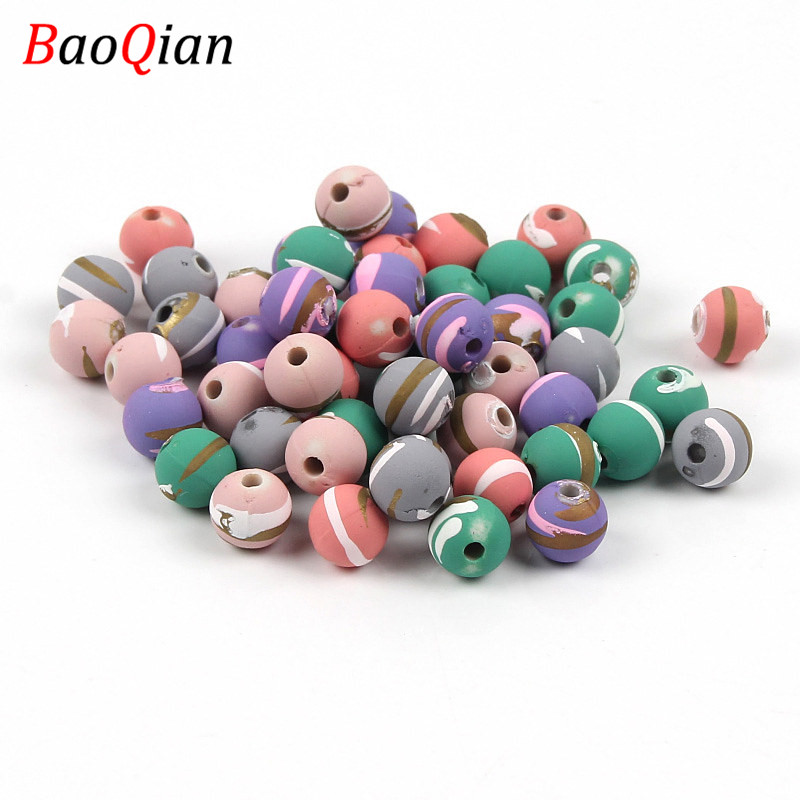 Round Acrylic Beads DIY Mixed Stripe Pattern Loose Beads Handmade Necklace Bracelet Anklet Jewelry Accessories(China)