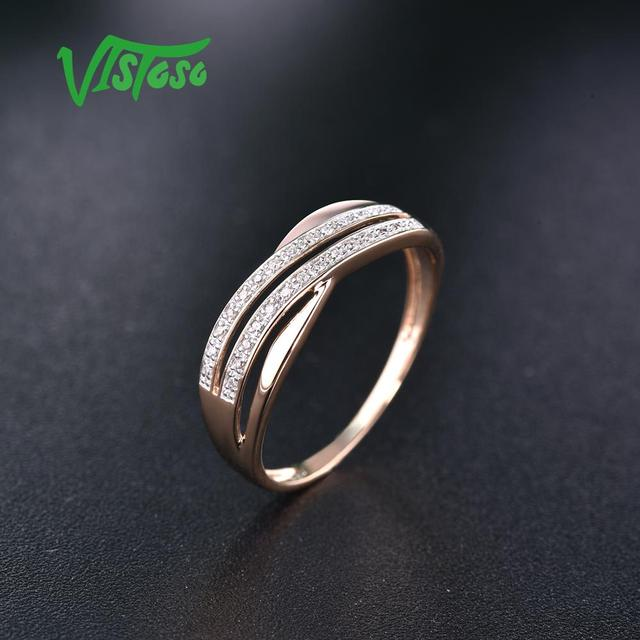 VISTOSO Genuine 14K 585 Rose Gold Chic Rings For Lady Sparkling Diamond Engagement Anniversary Simple Style Eternal Fine Jewelry 10