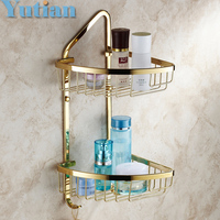 Free Shipping Wall Mounted Gold Color Solid Brass Bathroom Shower Shampoo Shelf Bathroom Basket Holder Fashion