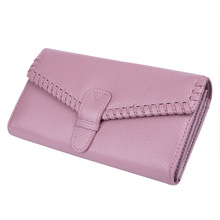 New Fashion Ladies Genuine Leather Purse Women's Wallets Cowhide 4 Colors Long Design  Knitting Womens wallets And Purses 3 fold