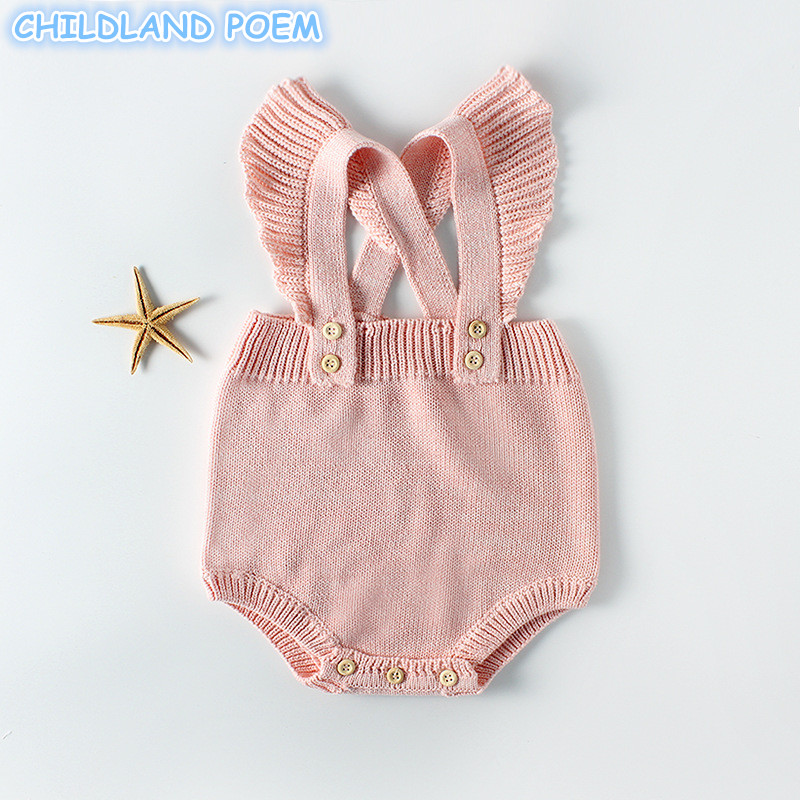 Sping Winter Baby Clothes Baby Knit Romper For Girls Newborn Baby Girls Romper Ruffle Princess Toddler Jumpsuits Baby Overalls summer newborn baby rompers ruffle baby girl clothes princess baby girls romper with headband costume overalls baby clothes