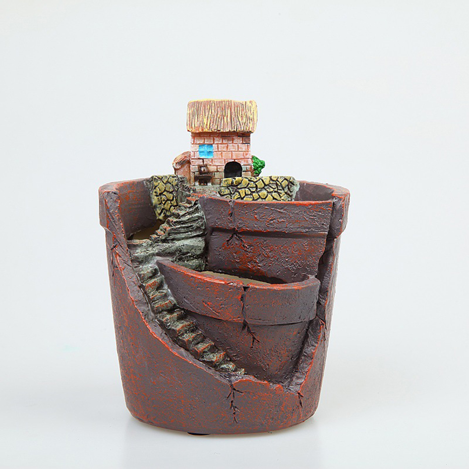 Novo criativo mini resina suculenta planta pote