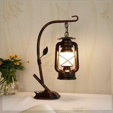 Lámpara de keroseno para dormitorio, sala de lectura, lámpara de mesa LED, vintage, rústica, decoración de la Mesa del hogar, lámpara de aceite vintage