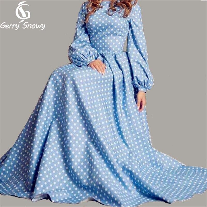 Blue dress 2018 spring summer dress women Europe catwalk o-neck long lantern sleeves big hem floor dress wave point long dresses