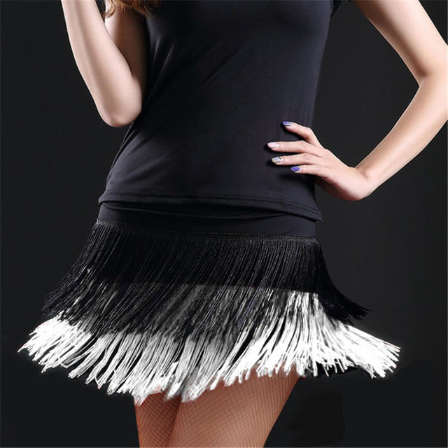 d46146558 New Latin Skirt Fashion Women Double Tassel Design Dance Costumes  Performance Latin Fringe Female Dance Dress Practice Skirts