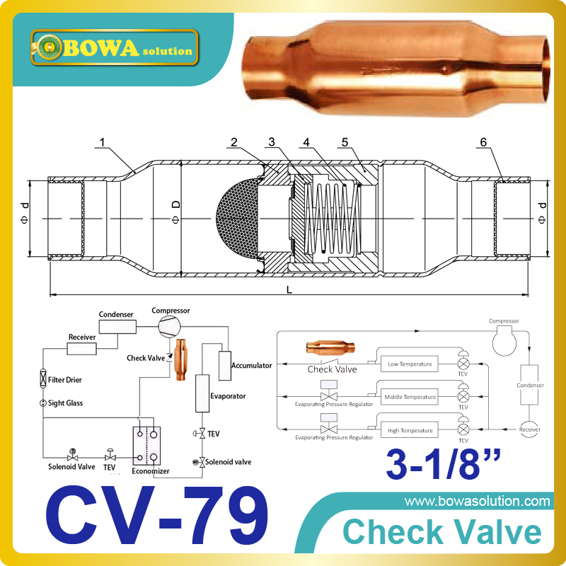 3-1/8 Check Valve suitable for use in the Liquid, Suction, Discharge or Hot Gas lines employing fluorinated refrigerants 3 8 check valve with solder connection for bus air conditioner and refrigeration truck replace sporlan check valve