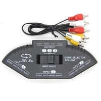 Conmutador de vídeo de 3 puertos para videojuego, Cable AV, RCA, AV, divisor, convertidor de Audio para XBOX, PS, TV, negro