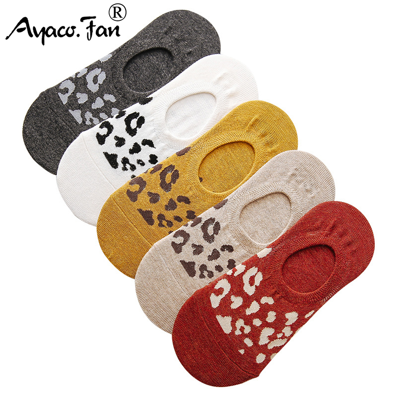 Leopard Print Women Socks Summer New Non-slip Silicone Invisible Sock Slippers Casual Girls Funny Socks No Show Socks 5Pairs/Lot