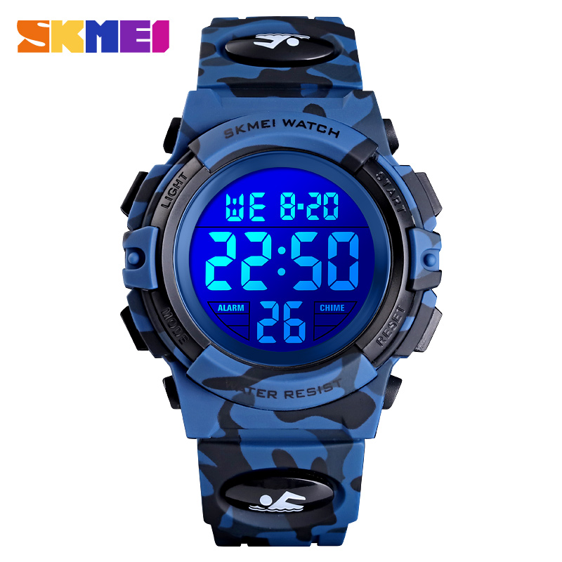 <font><b>SKMEI</b></font> <font><b>1548</b></font> Camouflage Boys Clock Kids Sports Stopwatch Wristwatches Waterproof Colorful LED Lights Children Watch Reloj Hombre image