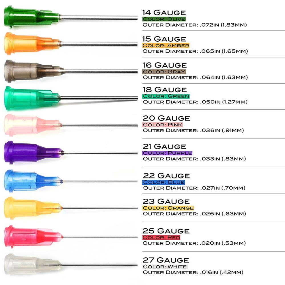 Syringe Dispensing Needles With Luer Lock 14G,15G,16G,18G,20G,21G,22G,23G,25G,27G,Blunt Tip,1 Inch Length,pack Of 100