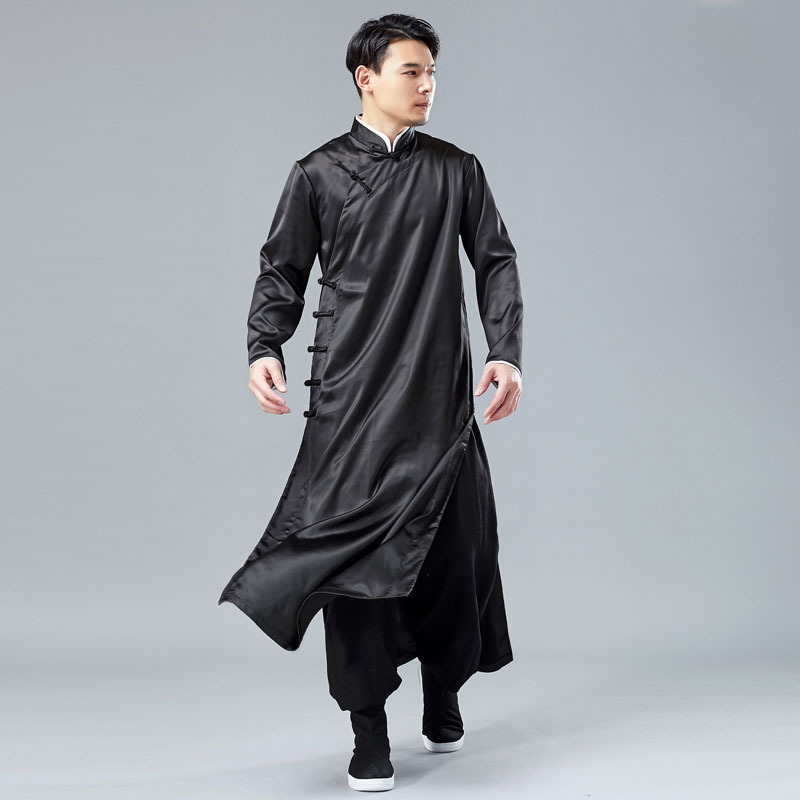 Men China Style Casual Long Sleeve Shirt Robe Male Satin Style Long Dress Shirt Stage Costumes