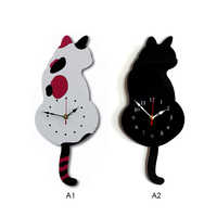 Wall Decoration Wagging Tail Cat Design Wall Clock For DropShipping