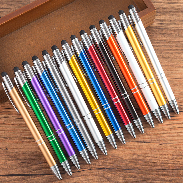 100pcs מתכת עיתונות כדורי עט שחור כחול דיו פרסום עט מותאם אישית מודפס לוגו מכתבים עסקי משרד חתימת עט מתנה
