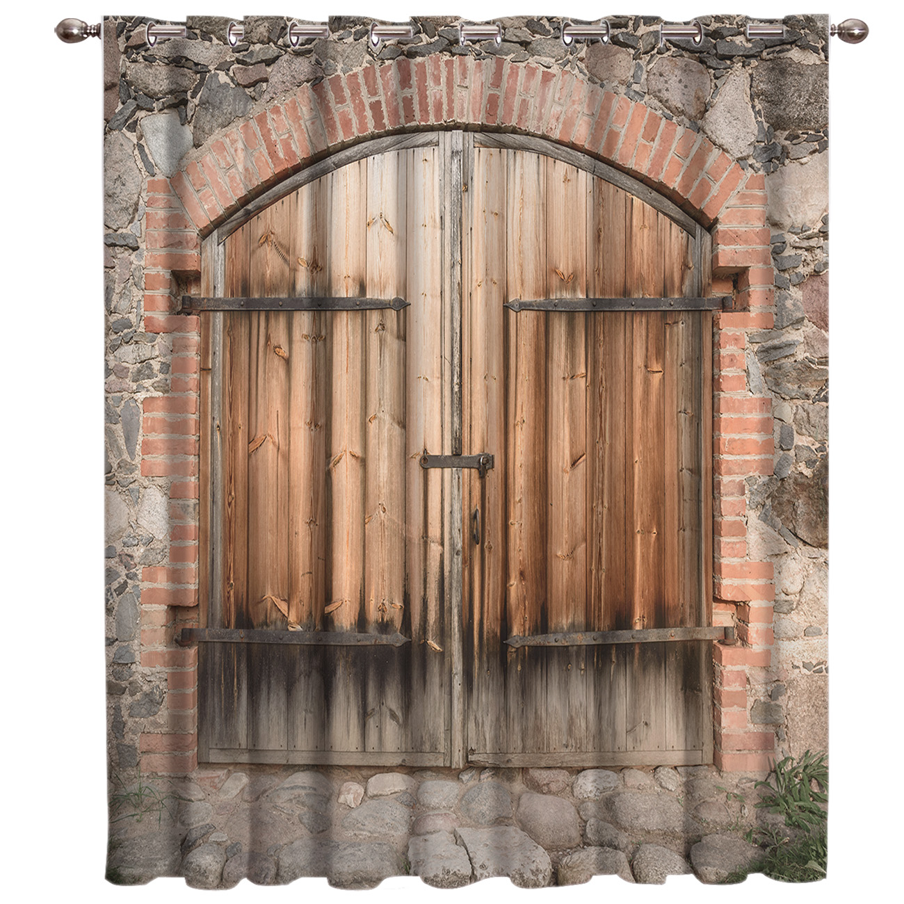 Old Stone House Crack In Stone Brick Wall Window Curtains Dark Living Room Bathroom Curtains Bedroom Indoor Fabric Print Curtain