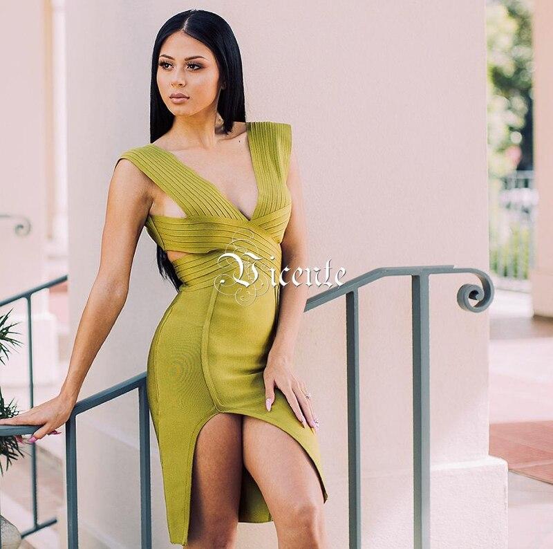 2019 Out Green Celebrity Robe Cut Mode Chaude En De Vicente Fractionnement Gros Army Sexy Conception Nouvelle blanc Femmes Party Bandage Cross 5wZ61ZHn0