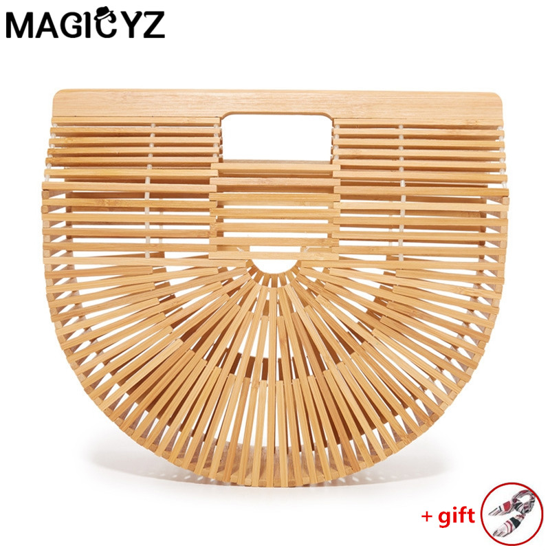 Straw bags for women 2018 Ladies Hand bags female causal totes hollow beach bags Half moon bamboo Women's handbags Clutch Bag lovevook women handbags bamboo top handle summer hollow beach bag female casual tote bags ladies half moon handbag natural 2018