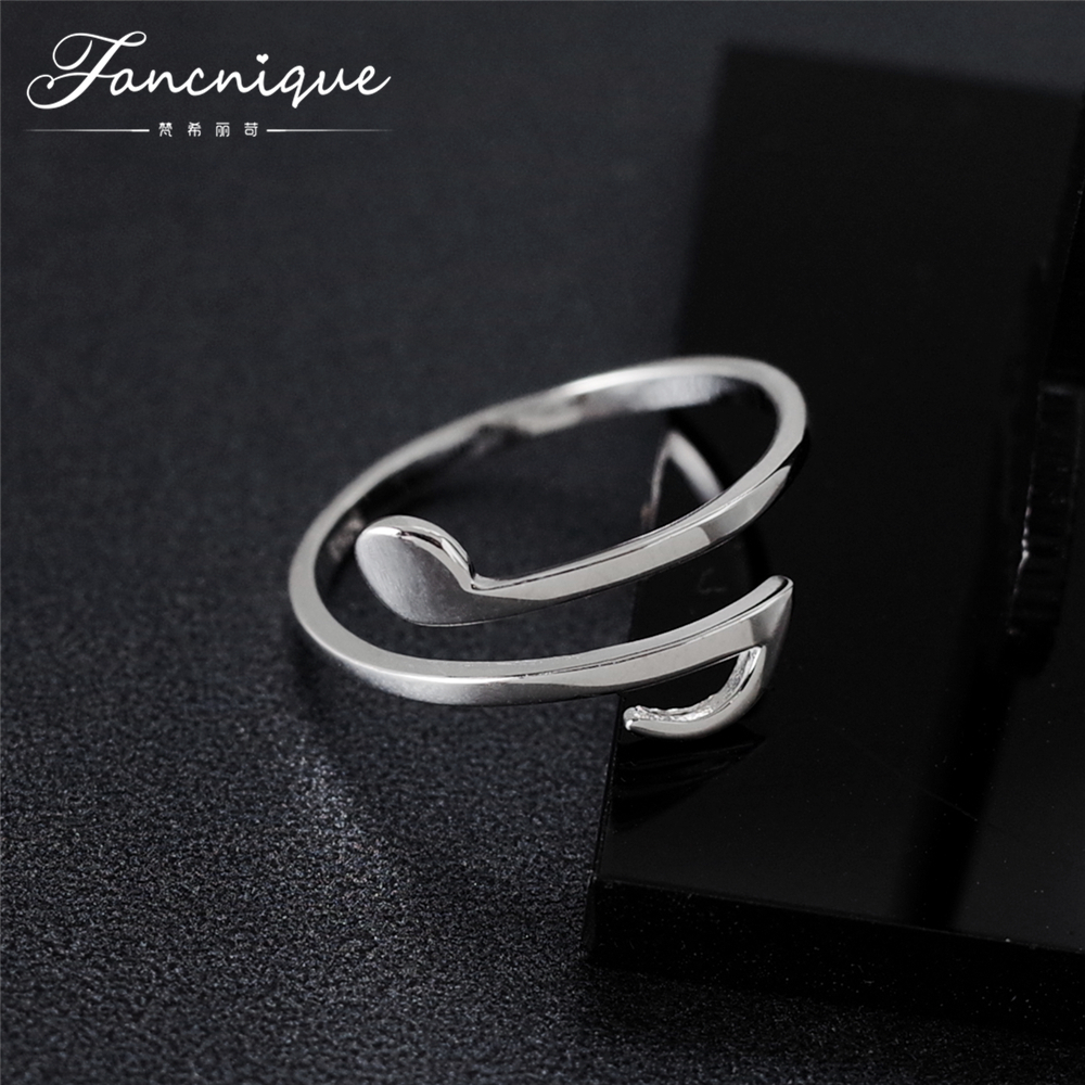 Fancnique 925 Sterling Silver Music Note Ring Adjustable Trendy Silver Jewelry