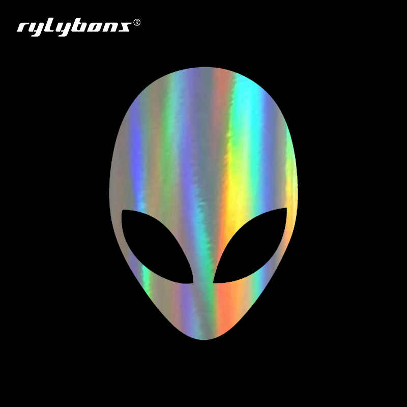 Rylybons DIY 19 6cm*14cm Alien Head Bardian Vinyl Car Stickers Unique  Car-styling Stickers and Decals Auto Car Accessories