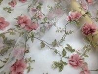 3D flower chiffon mesh organza glass yarn applique lace fabric dress fashion diy weedding clothing accessories