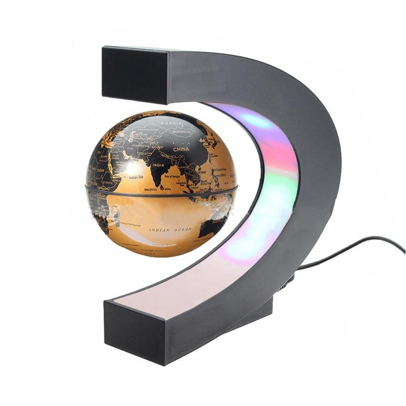 LIRUIKA LED Luminescence C Shape Base Magnetic Floating Globe World Map Home Office Desk Decoration Furniture Gift Arts Crafts