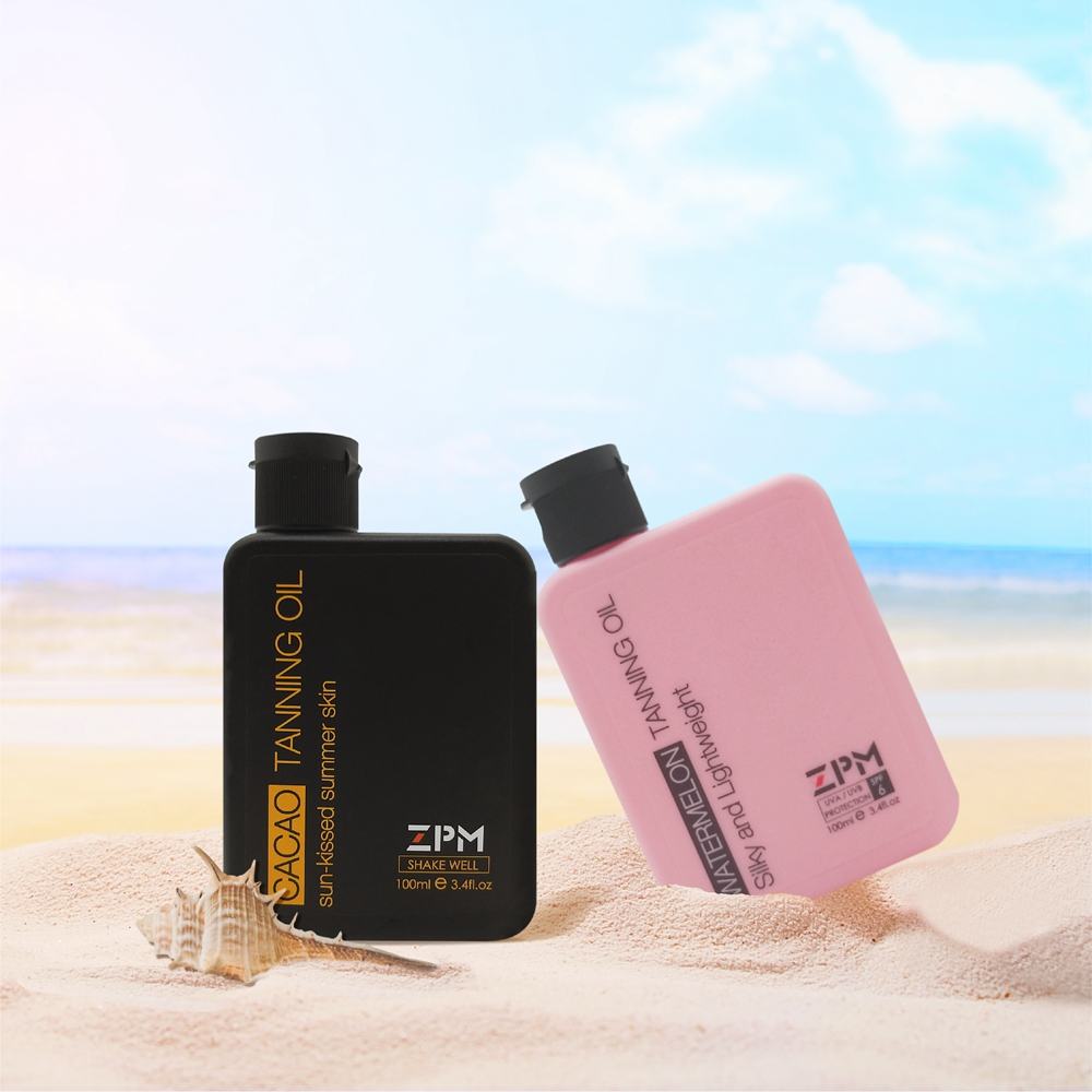ZPM 3*100ml 3.4oz Moisturizing Tanning Oil Cacao Watermelon Mango SPF 6 Bottle Broad Spectrum UVA/UVB Protection Hypoallergenic