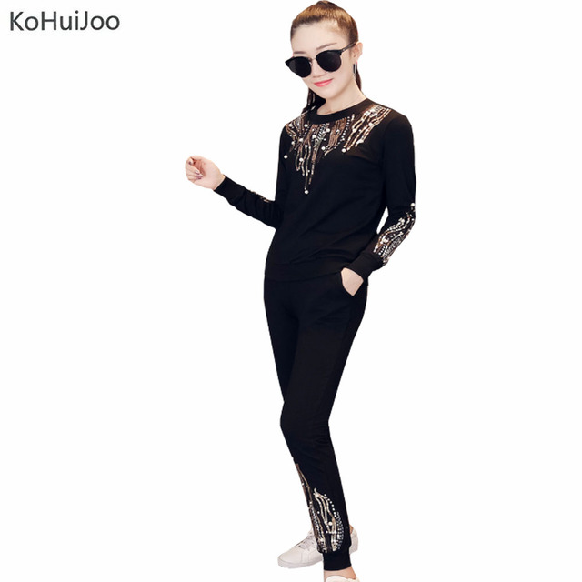 KoHuiJoo 2019 Spring Women Hoodie and Pants Set Heavy Embroidery Beaded Sequin 2 piece pants sets Casual Sporting Suit Female