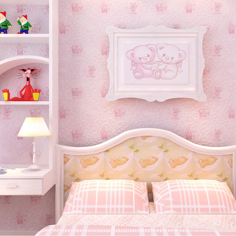 Non Girly Bedroom Ideas: Cute Bear Cartoon Animal Wallpaper Boy Girl Children Room