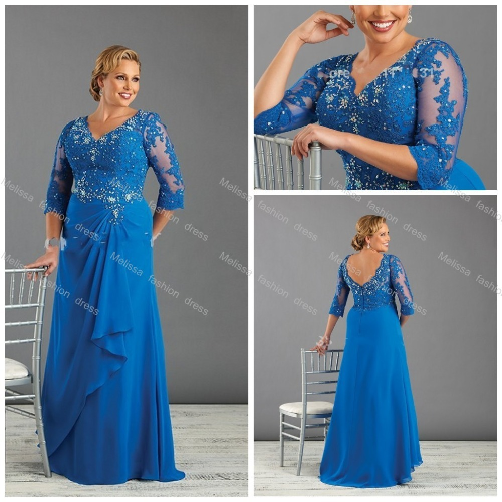 Blue Plus Size Mother Of The Bride Groom Dresses With Sleeve Ladies Evening Dress Mom Gown Shop Custom 14 16 18 20 22 24 26 In
