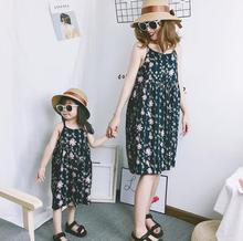 chiffon mother daughter dresses floral mommy and me clothes family matching outfits look mom mum and girls dress clothing summer