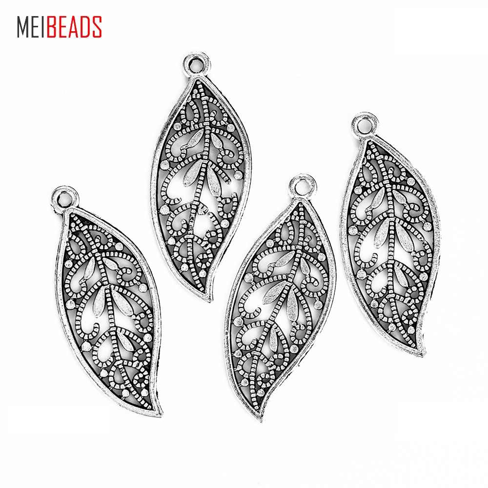MEIBEADS 10pcs/lot Ancient Silver Alloy Leaf Type Charm For Bracelet&Necklace DIY Jewelry Accessories Making Wholesale UF7137