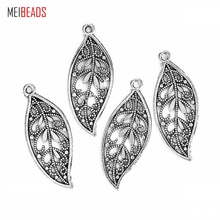 MEIBEADS 10pcs/lot Ancient Silver Alloy Leaf Type Charm For Bracelet&Necklace DIY Jewelry