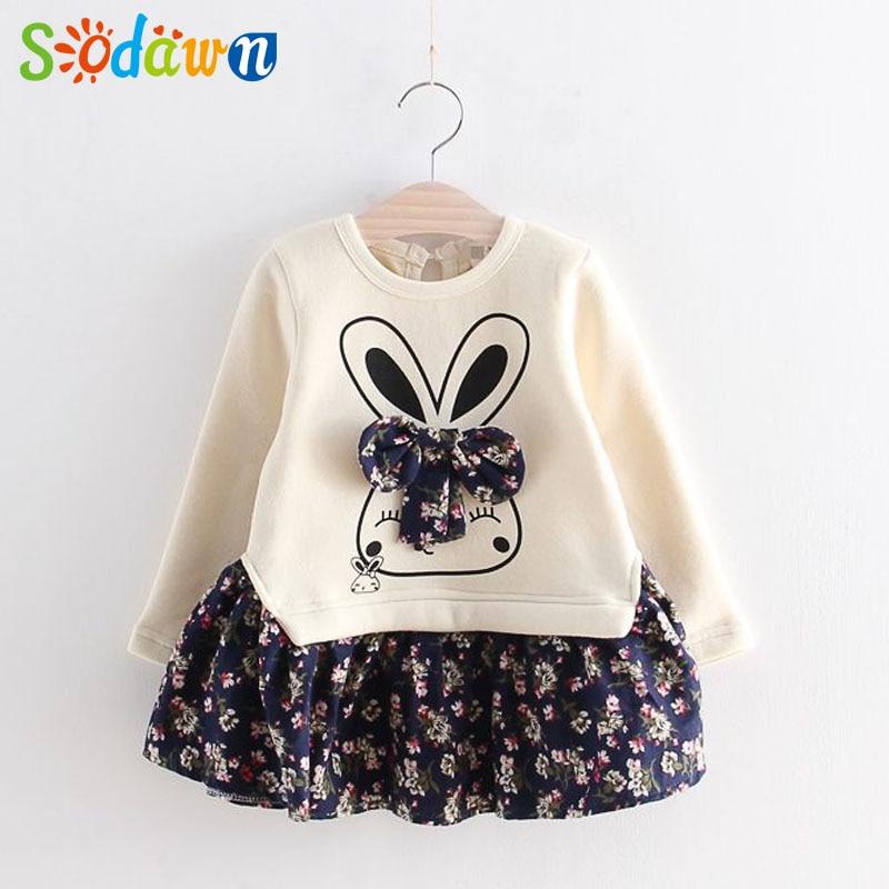 Sodawn Spring Autumn Pretty Princess Dress New Sweet Meng Rabbit Broken Flower Bow Tie Dress Children Clothes Girls Dress