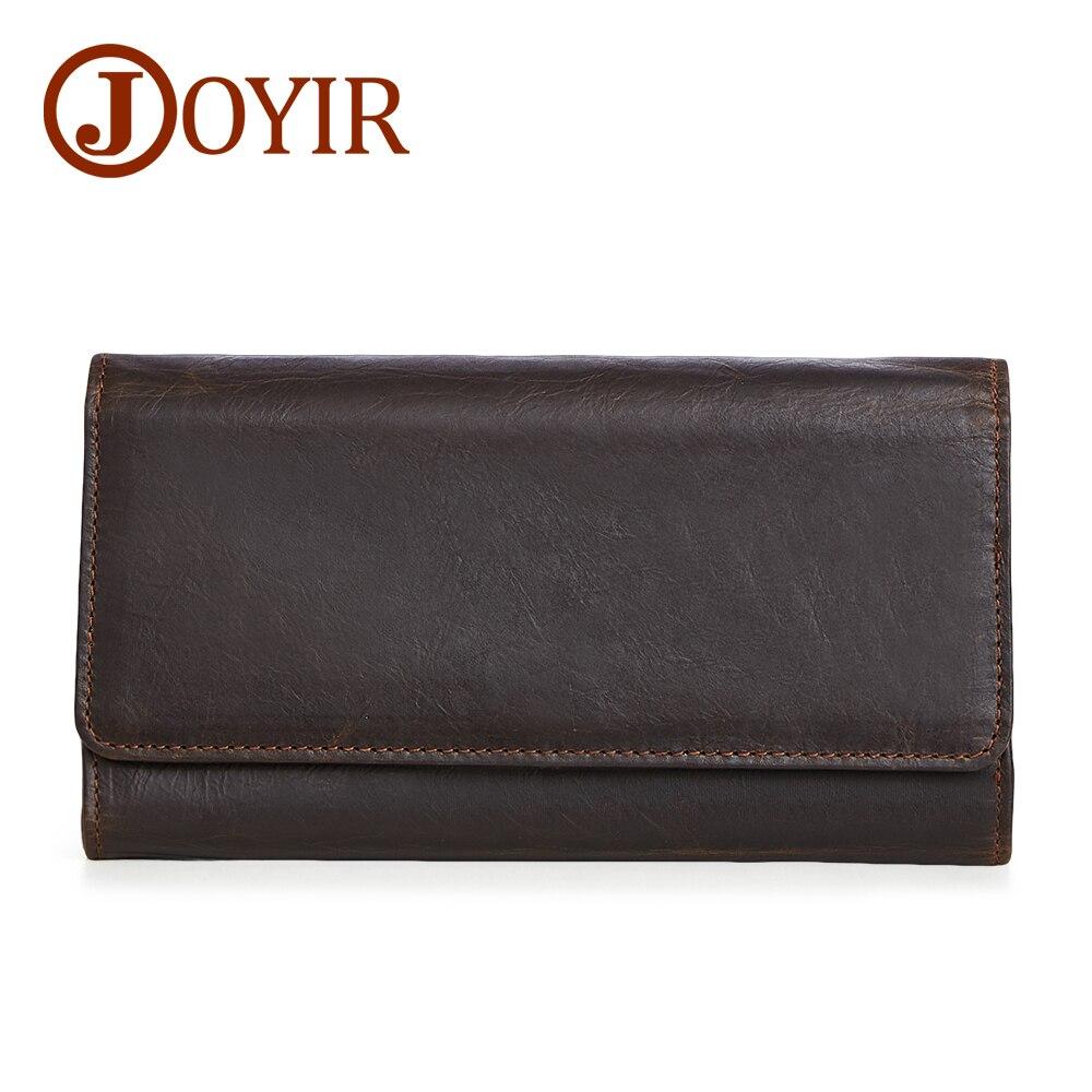 JOYIR grande capacité en cuir véritable homme Long portefeuille porte-carte de crédit fermoir porte-monnaie hommes portefeuilles homme embrayage 2019 nouveau 2048