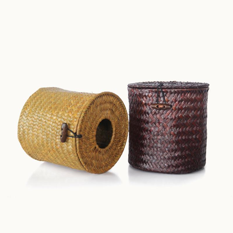 Handmade Round Straw Multifunction Tissue Box Paper Box Storage Case Car Tissue Boxes Table Decorative Accessoriess Home Decor in Tissue Boxes from Home Garden