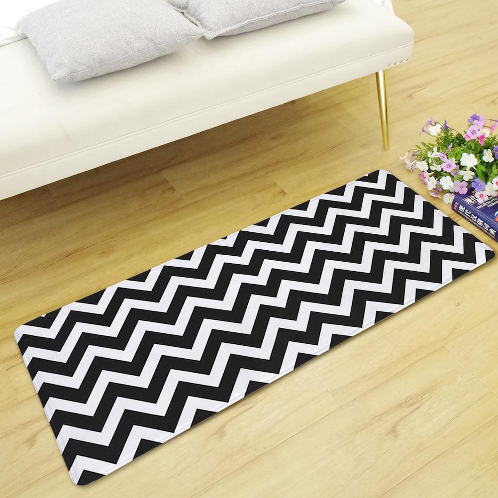 Black And White Striped Long Floor Mat Home Living Room