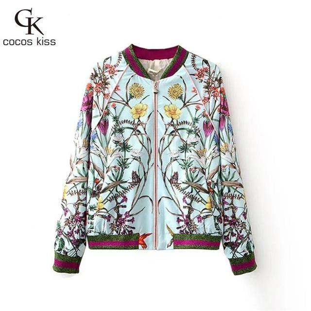 2016 Flor de Impressão Plus Size Mulheres Jaqueta de Lazer moda de Beisebol gola Fina Jaqueta Casaco de Mangas Compridas