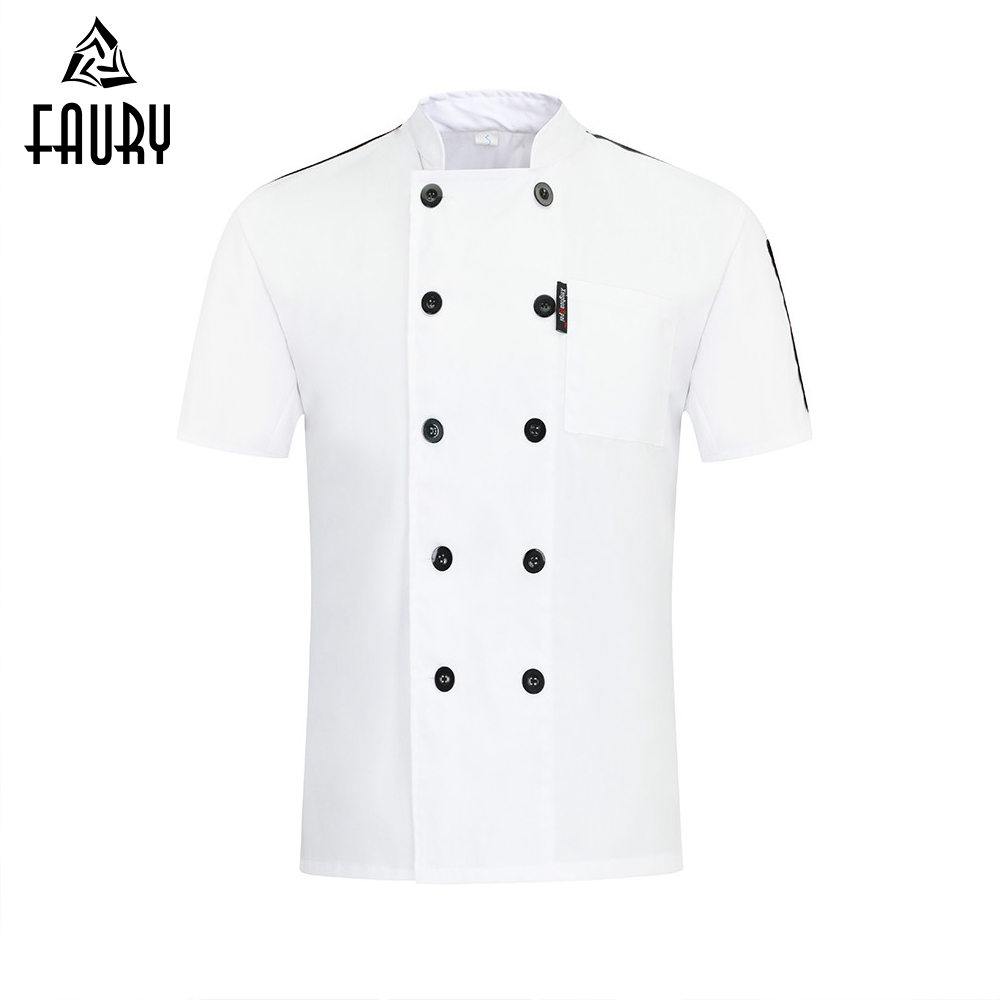 Chef Jacket Uniform Professional Veste De Cuisine Wholesale Custom Kitchen Hotel Sushi Men Women Canteen Party Wear Barber Shop image