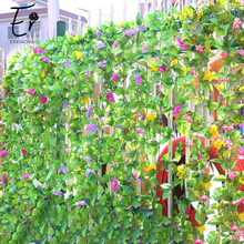 Erxiaobao Fake Flower Artificial Pink Purple Red Hyacinth Vine Rattan Balcony Fence Bookcase Window Wedding decoration