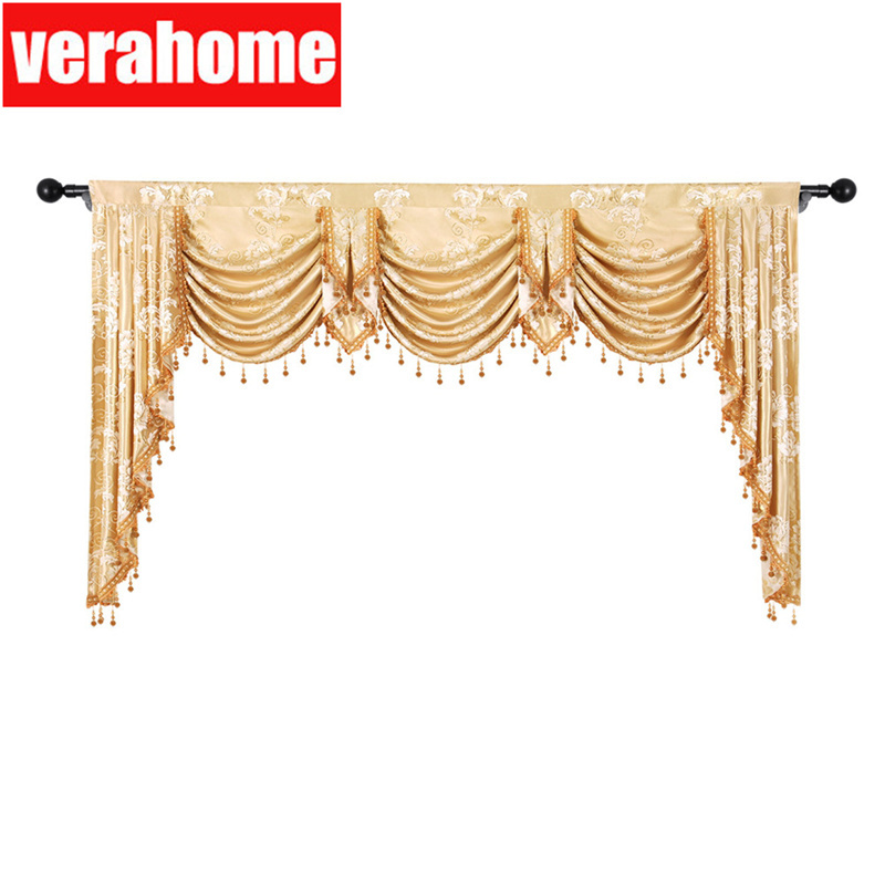 European valance Royal pelmet Luxury Jacquard window blackout valances curtains for Living room bedroom(China)